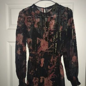 Sheer floral dress with black lining